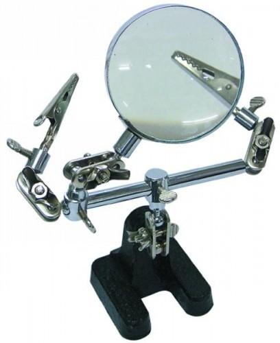 Dritte Hand für Lötarbeiten, 2-fache Vergrößerung 60 mm D.
