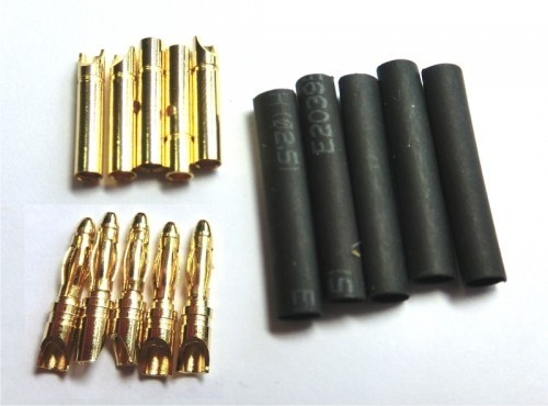 2mm Goldkontaktstecker, m+w 5 Paar