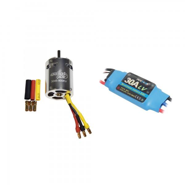 Arkai Brushless Set gekapselter ALUmotor 30er 900KV & 30A Flycolor Regler