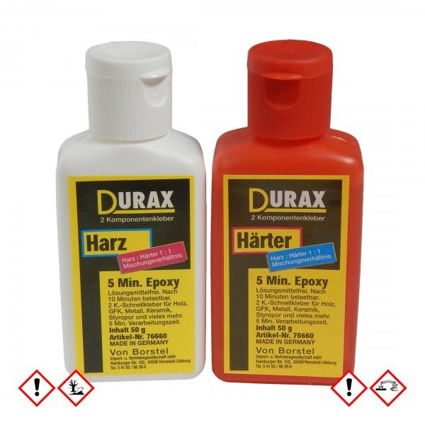 Durax 5 Min. Epoxy-Kleber, Set (50 g Härter, 50 g Harz)