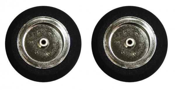 2 Stück Reifen mit verchromter Felge für 3mm Radnaben - 40 mm m. MESSINGlaufbuchse