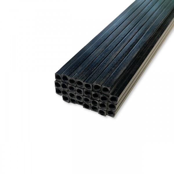 Carbon-Stab mit Innenrohr, 5x 200mm, außen eckig, innen rund