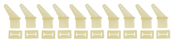 Ruderhorn-Set weiß 5 Paar gebogene Form m. Gegenplatte