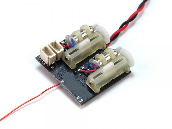 4 Kanal Mini-Empfänger mit 5A/1S-Brushed-Regler und 2 Servos, S-FHSS, DSMX oder DSM2